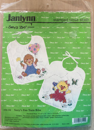 Suzy's Zoo Stamped Cross Stitch Kit Keepsake Baby Bibs 2-Pack