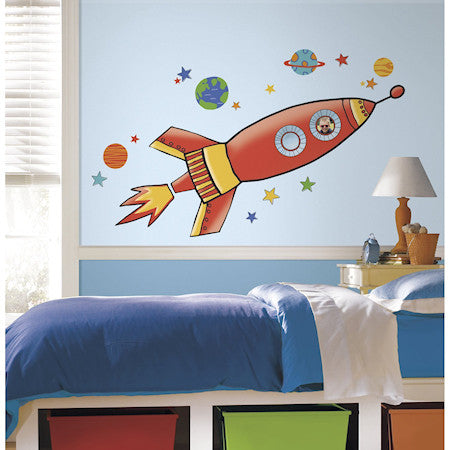 "53"" Red Rocket Peel & Stick Giant Wall Decal Outer Space Wall Mural"
