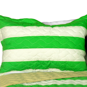 Green Soccer Theme Striped Bedding Girl or Boy Full/Queen Quilt Set - Pillow Sham
