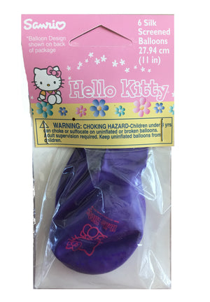 "Hello Kitty 11"" Purple Pastels Latex Balloons 6 CT Silk Screened"