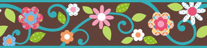 Brown Floral Scroll Peel and Stick Kids Wallpaper Border