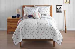 Red White Blue Baseball Bedding Full Patwork Plaid Comforter Set with Baseball Plush Pillow
