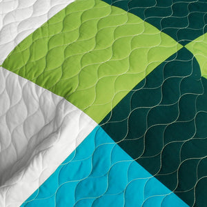 Green Blue Minecraft Blocks Boys Bedding Twin or Full/Queen Quilt Set Teen Geometric Bedspread