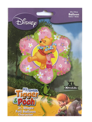 "Winnie The Pooh & Piglet Pink Green Flower-Shaped Friendship or Birthday 18"" Party Balloon"