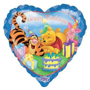 "Winnie The Pooh Blue Heart-Shaped Happy Birthday 18"" Party Balloon"