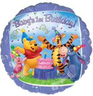 "Winnie The Pooh Baby's 1st Birthday 18"" Purple Party Balloon"