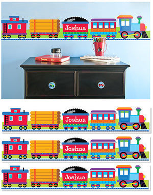Train Personalized Kids Peel & Stick Wall Border