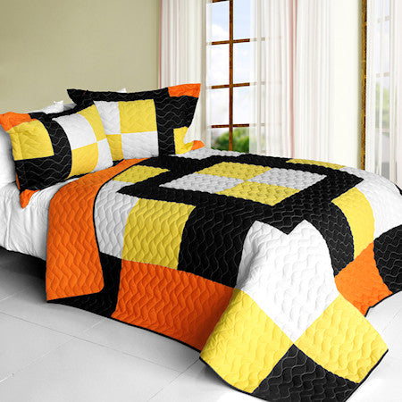 Black Orange White Yellow Checkered Teen Bedding Full/Queen Quilt Set Patchwork Bedspread