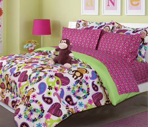 Hot Pink & Green Peace Sign Monkey Girl's Bedding Twin Bed in a Bag Comforter Set
