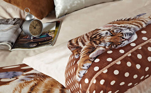 Little Baby Tiger Bedding Twin XL or Queen Duvet Cover Set Brown & Tan Designer Ensemble