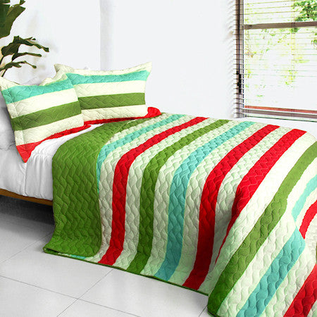 Green Red Turquoise Blue Striped Teen Bedding Full/Queen Quilt Set Modern Bedspread