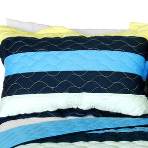 Blue Yellow Navy Striped Teen Bedding Boy or Girl Full/Queen Quilt Set - Pillow sham