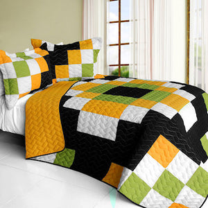 Black White Green Orange Pixel Teen Boy Bedding Full/Queen Quilt Set Modern Geometric Bedspread