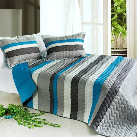 Blue & Grey Striped Teen Boy Bedding Black White Stripe Full/Queen Quilt Set Oversized Bedspread