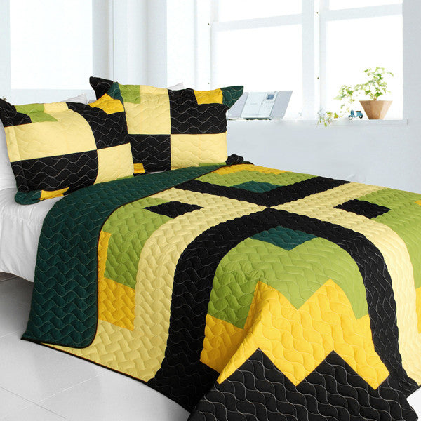 Green Black Yellow Checkered Teen Boy Bedding Full/Queen Quilt Set Modern Geometric Bedspread
