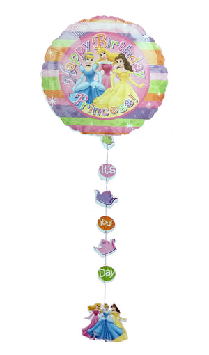 "Disney Princesses Happy Birthday 22"" Drop-A-LIne Party Balloon - Cinderella, Aurora, Belle - with Balloon Weight"