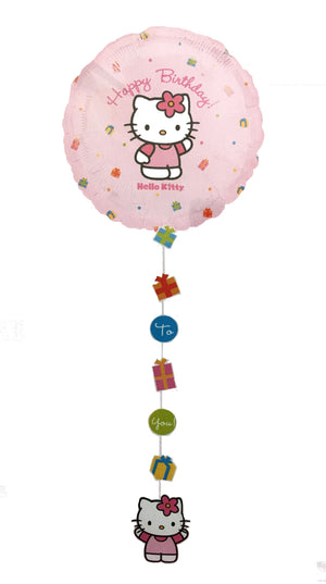 "Hello Kitty Happy Birthday 54"" Pink Prismatic Drop-A-Line Party Balloon"