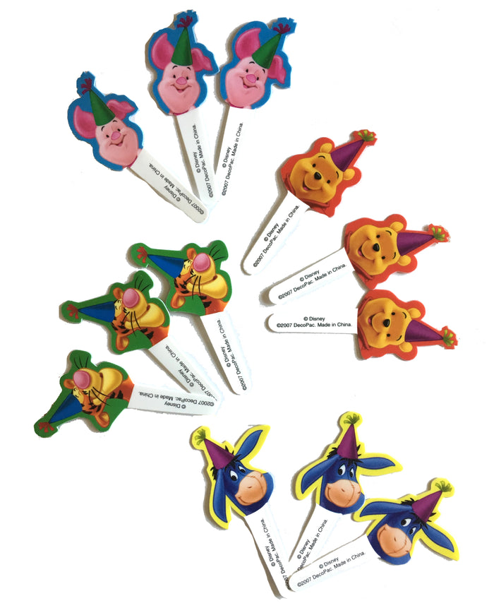 Winnie The Pooh Plastic Cupcake Topper Party Deco Picks 12 CT - Pooh, PIglet, Tigger, Eeyore Party Hats