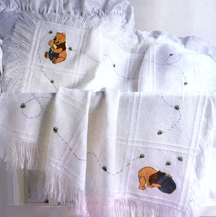 "Winnie The Pooh Counted Cross Stitch Pooh Bees & Honey Pot Keepsake Baby Blanket Afghan Kit 34"" x 43 1/2"""
