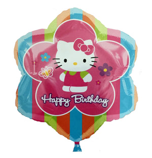 "Hello Kitty Happy Birthday Flower-Shaped 18"" Striped Party Balloon"