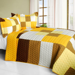 Brown Tan Yellow & White Teen Bedding Full/Queen Quilt Set