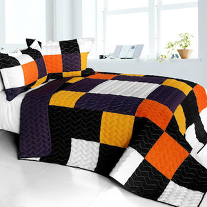 Black White Orange Purple Checkered Teen Bedding Full/Queen Quilt Set Modern Geometric Bedspread