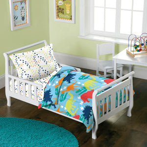 Dinosaur Toddler Bedding 4pc Bed in a Bag Comforter & Sheet Set