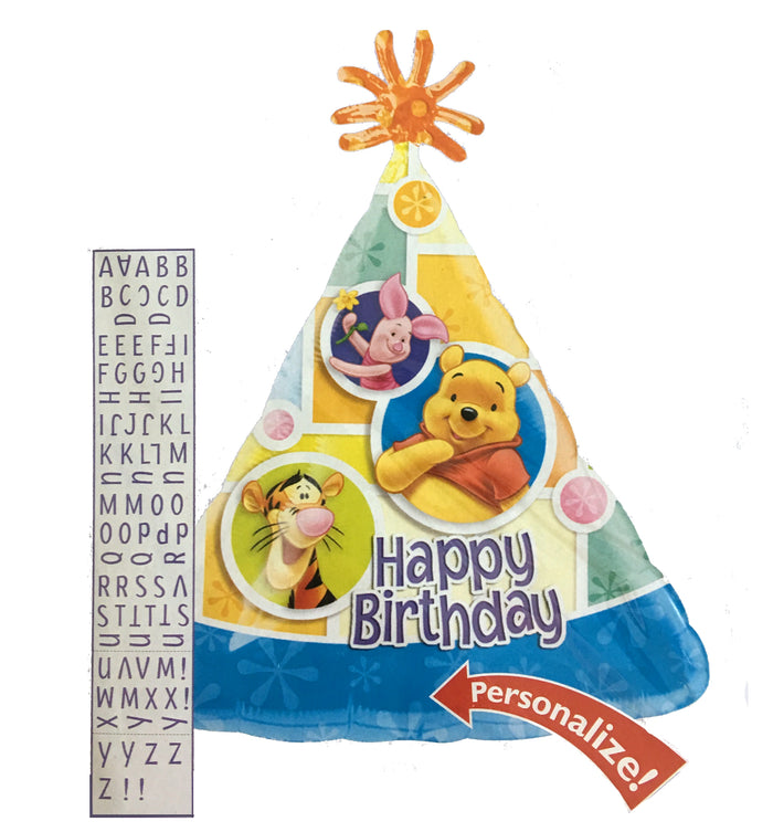 "Winnie The Pooh & Friends Personalized Happy Birthday Hat 18"" Party Balloon"