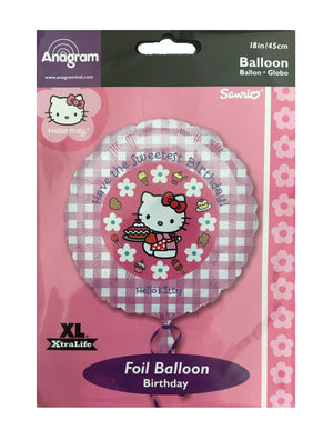 "Hello Kitty Sweetest Happy Birthday 18"" Pink Gingham Party Balloon"