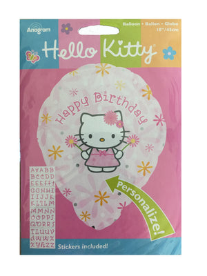 "Hello Kitty Happy Birthday Pink Personalized 18"" Party Balloon"