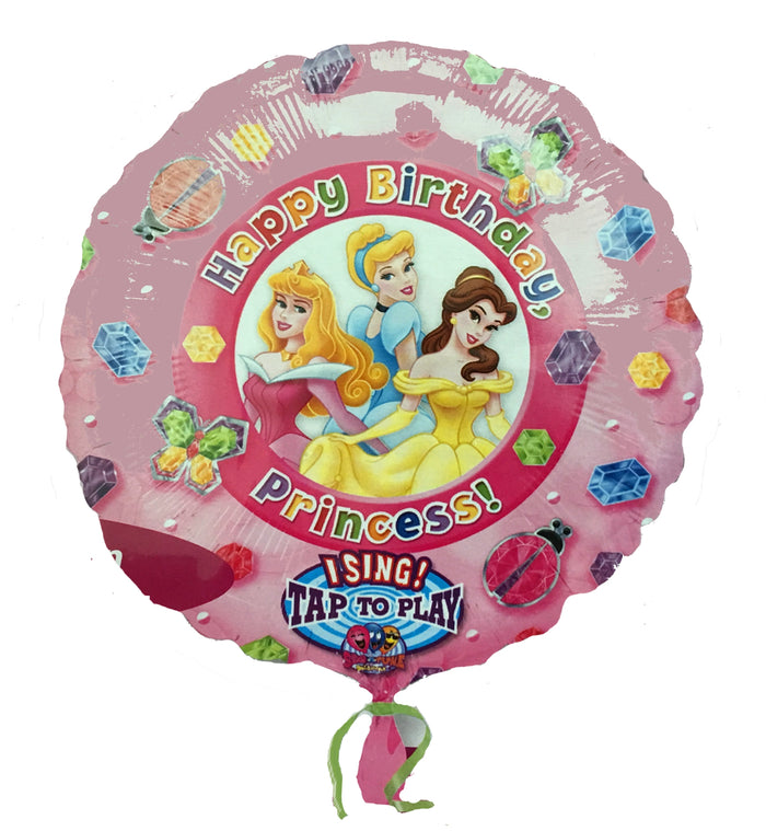 "Disney Princesses Happy Birthday Jewels Jumbo 28"" Party Balloon - Sing-A-Tune - Aurora, Cinderella, Belle"