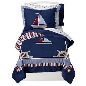 Nautical Themed Sailboats Toddler Boy Comforter Bedding 5pc Bed in a Bag Set Navy Blue Red