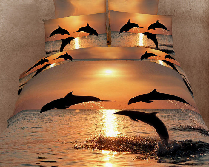Golden Sunset Dolphin Bedding King Size Marine Ocean Duvet Cover Set Designer Ensemble