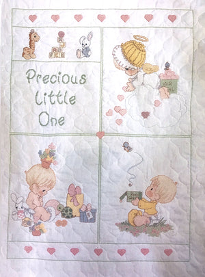 "Precious Moments Counted Cross Stitch Kit Baby Precious Keepsake Quilt 34"" x 43""Unfinished"