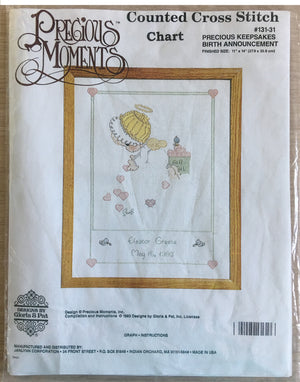 "Precious Moments Counted Cross Stitch ""Precious Keepsakes' Angel Baby Birth Announcement Chart 11"" x 14"""