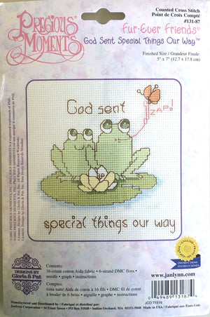 Precious Moments Cross Stitch Kit Frogs 'God Sent Special Things Our Way""