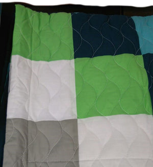 Green Navy& Turquoise Blue Geometric Teen Boy Bedding Full/Queen Quilt Set - Pillow Sham