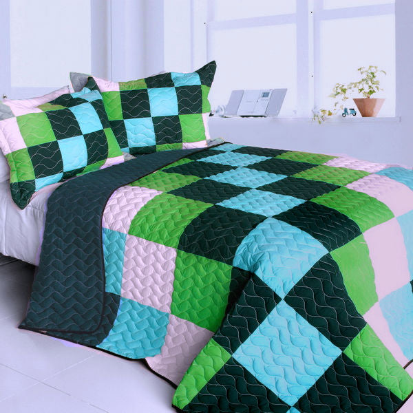 Green Navy & Turquoise Blue Geometric Teen Boy Bedding Full/Queen Quilt Set Patchwork Modern Bedspread