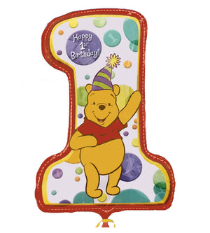"Winnie The Pooh Happy Baby's 1st Birthday Jumbo 28"" Party Balloon"