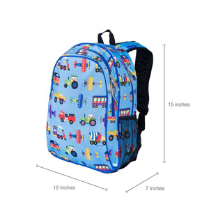 Blue Trains, Air Planes, Trucks School Backpack for Boys