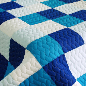 Modern White Blue Patchwork Teen Bedding Boy Girl Quilt Set - Detail