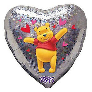 "Winnie The Pooh Silver Holographic Heart-Shaped Love or Valentine 18"" Party Balloon"
