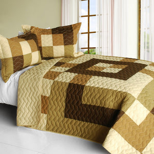 Brown & Tan Bedding Full/Queen Quilt Set Patchwork Geometric Bedspread Teen or Adult