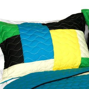 Geometric Blue Green Yellow Patchwork Teen Boy Bedding Full/Queen Quilt Set - Pillow Sham