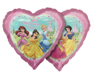 "Six Disney Princesses Happy Birthday Pink Heart-Shaped 18"" Party Balloon - Garden Party"