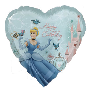 "Disney Princess Cinderella & Birds Blue Heart-Shaped 18"" Happy Birthday Party Balloon"