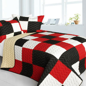 Black White Red Patchwork Teen Bedding Full/Queen Quilt Set Modern Colorblock Bedspread