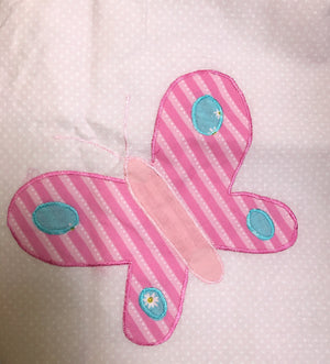 "Soft Pink Butterfly & Flowers Polka Dot Girl Window Valance 2-Ply 70"" x 20"""