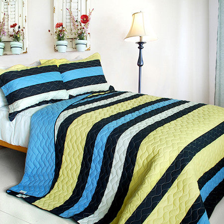 Blue Yellow Navy Striped Teen Bedding Boy or Girl Full/Queen Quilt Set Modern Bedspread