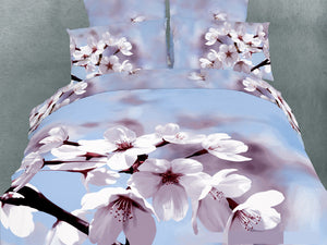 Blue Floral Bedding Spring Blossom Duvet Cover Set King Designer Ensemble